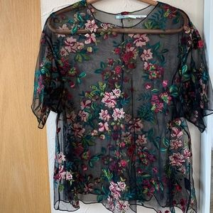Urban Outfitters Black Mesh Top with Floral detail
